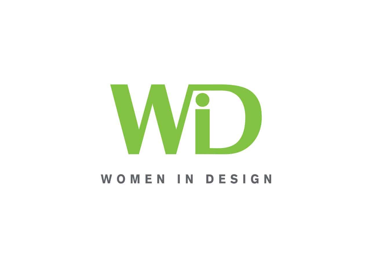 "Women in Design black and green organization logo design with ""WiD"" in green and ""Women in Design"" in grey font."