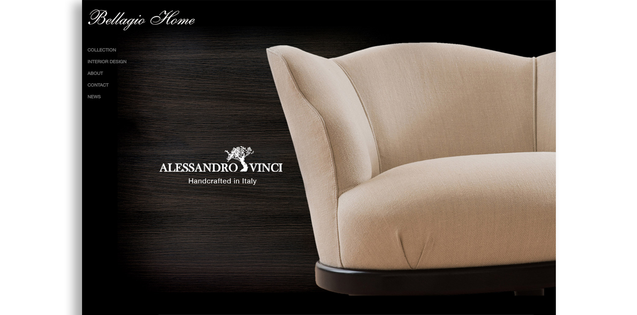 Bellagio Home website design featured slider with furniture on the right side