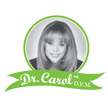 Dr. Carol logo before the redesign over a green ribbon, with white font and the founder's photo in black and white centered.