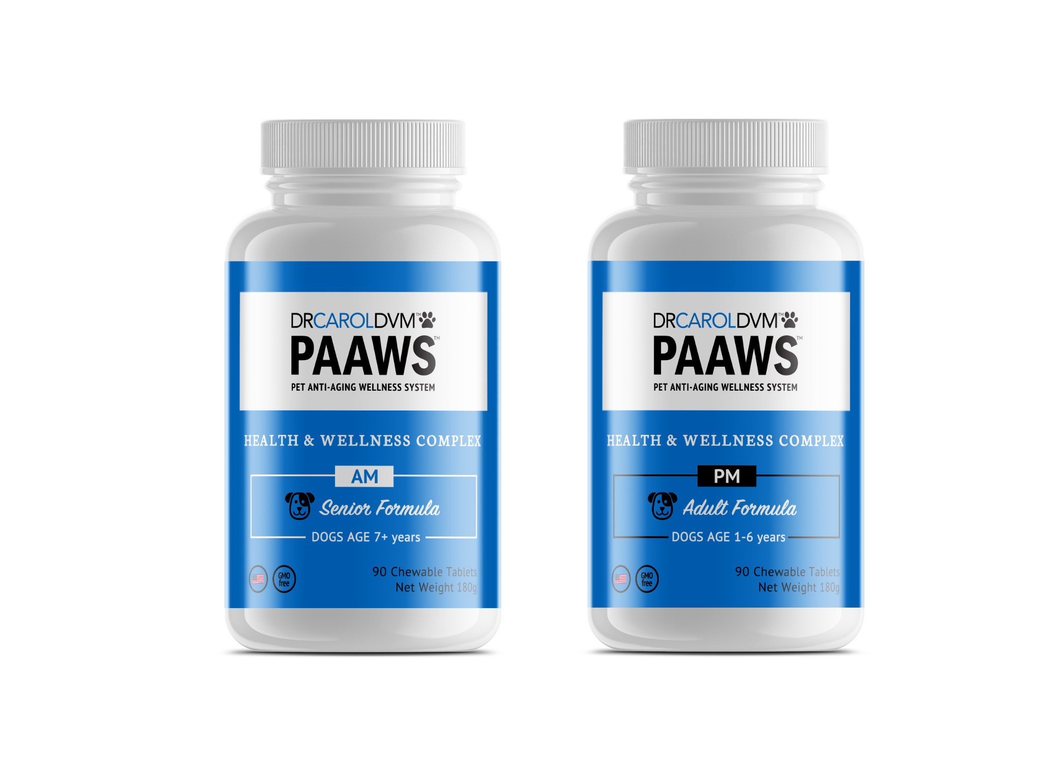 Dr. Carol DVM PAAWS pet product labels supplement design in blue, black and white elements against white background.