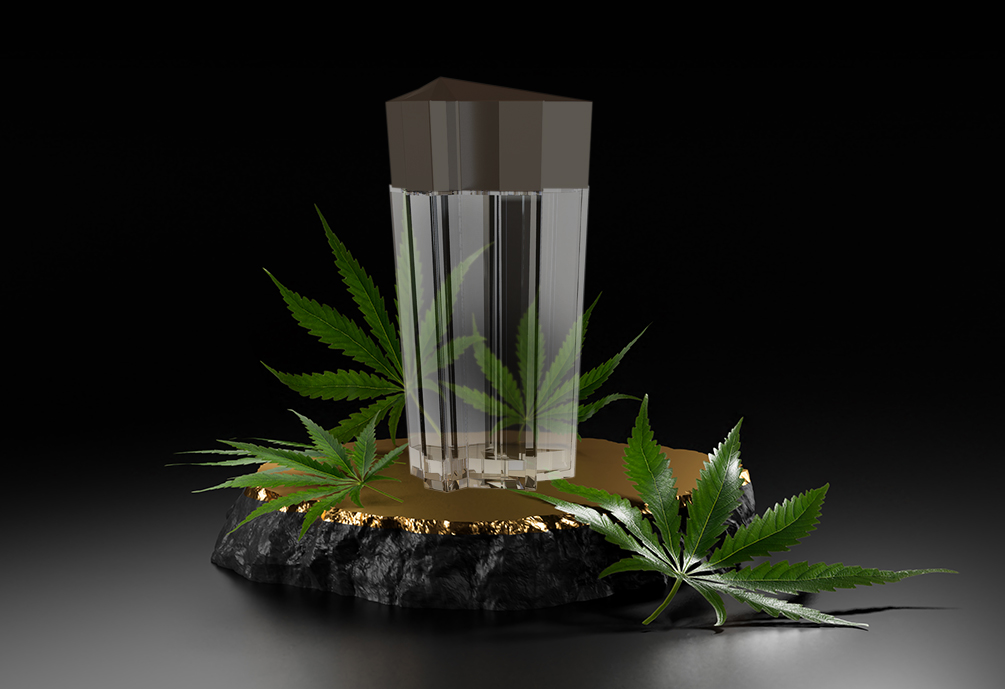 FireGarden custom cannabis packaging design with the top cap in the shape of a pot leaf.