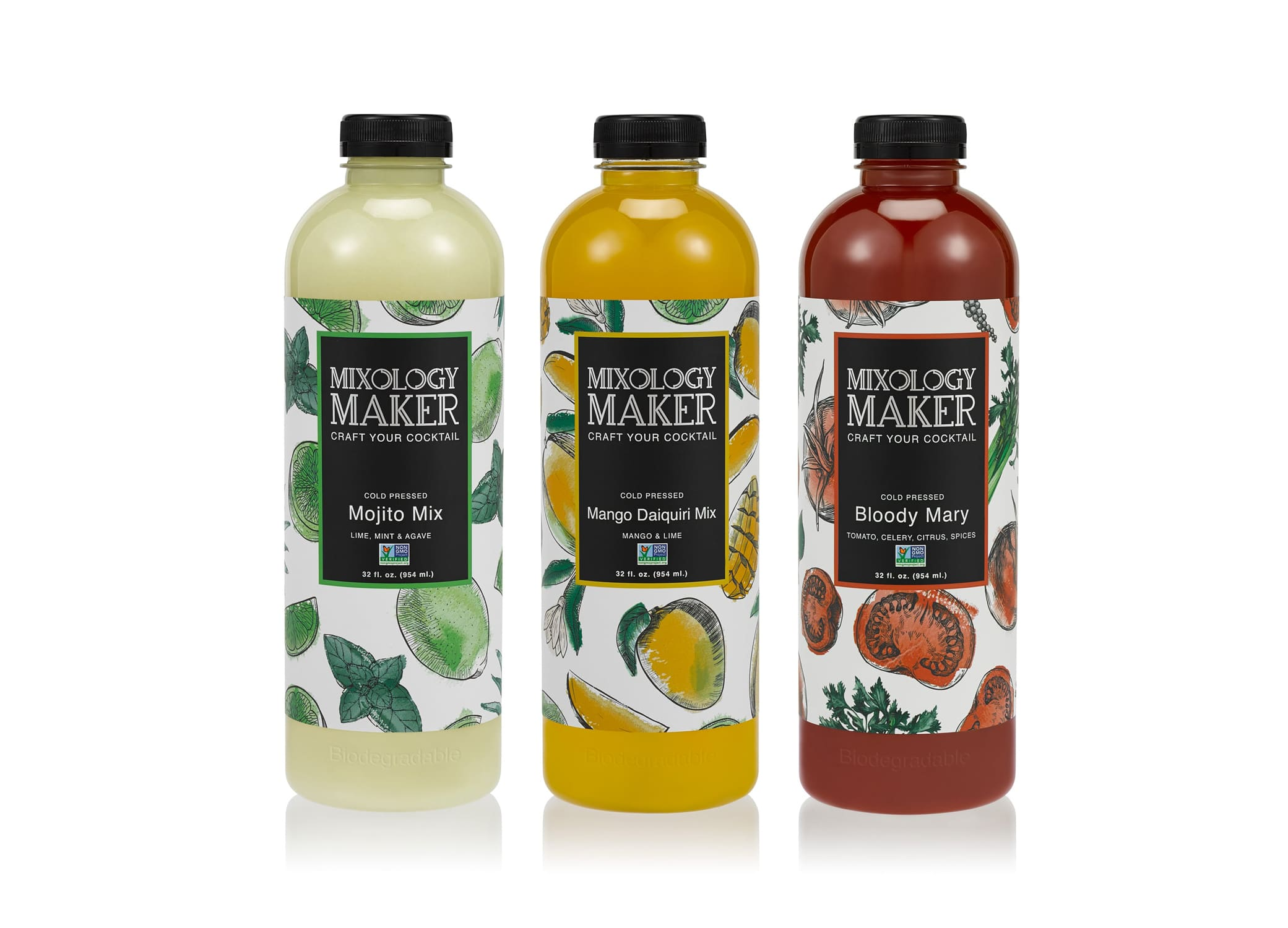 Mixology Maker drink packaging design showcasing three flavors with bright label design against white backdrop.