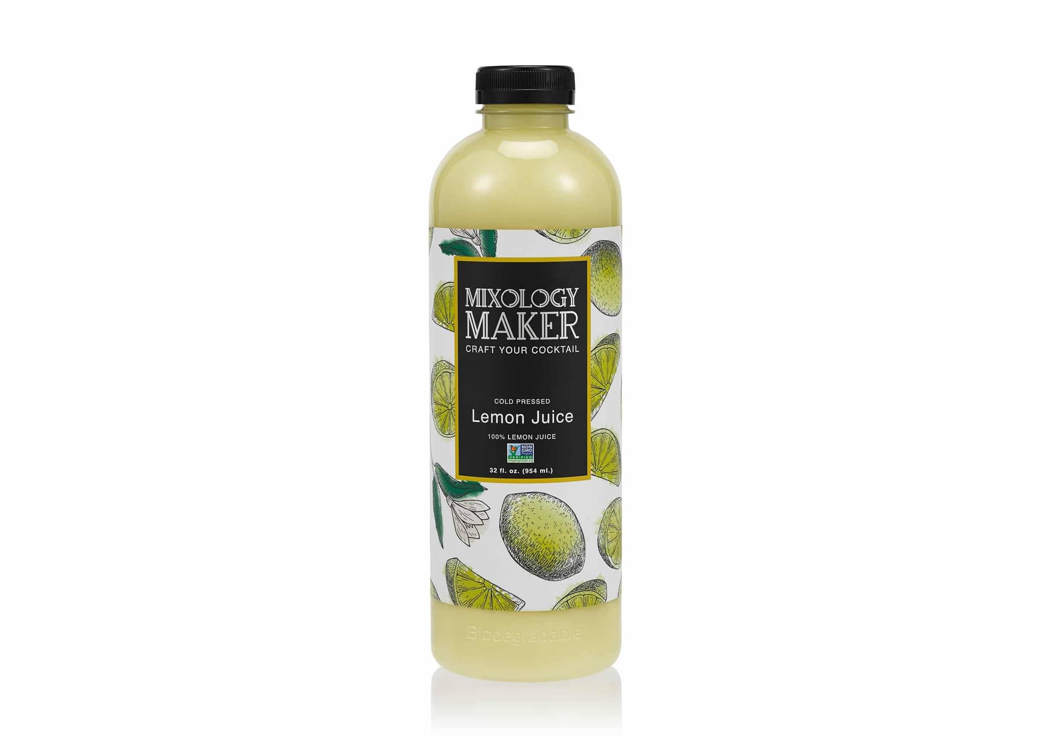 Mixology Maker drink packaging design showcasing Lemon Juice flavor with bright label design against white backdrop.