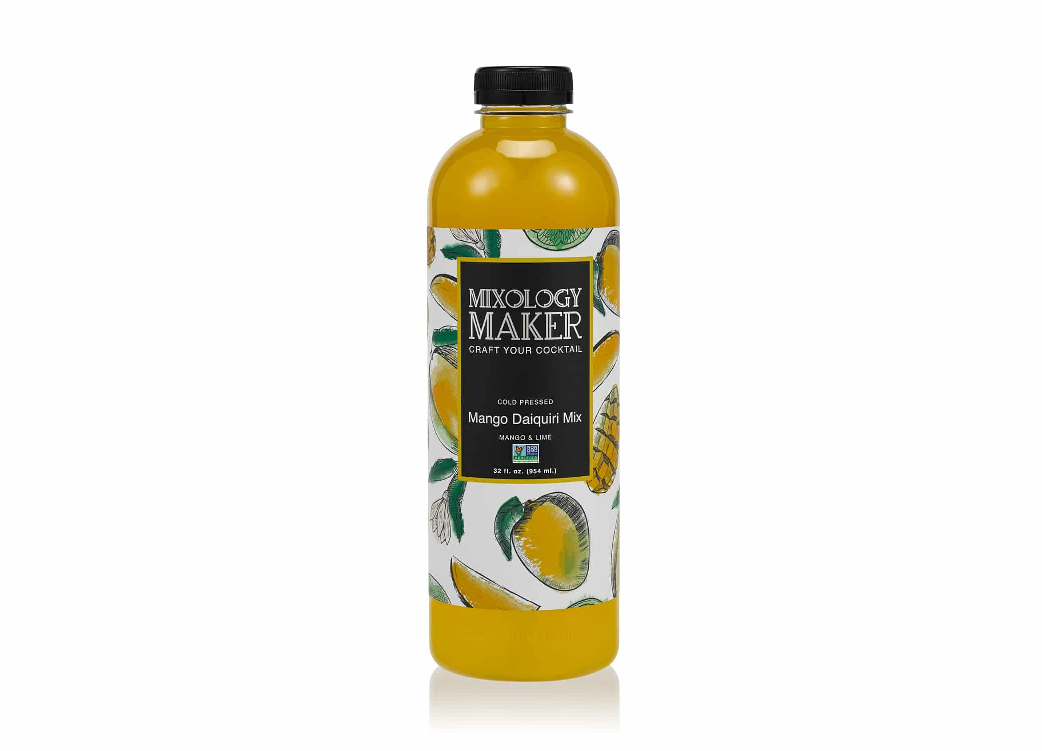 Mixology Maker drink packaging design showing Mango Daiquiri flavor with sleek logo and hand drawn fruits on the label.