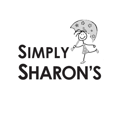 Simply Sharon's logo before the redesign in all black font with an illustration of a little girl holding an umbrella.