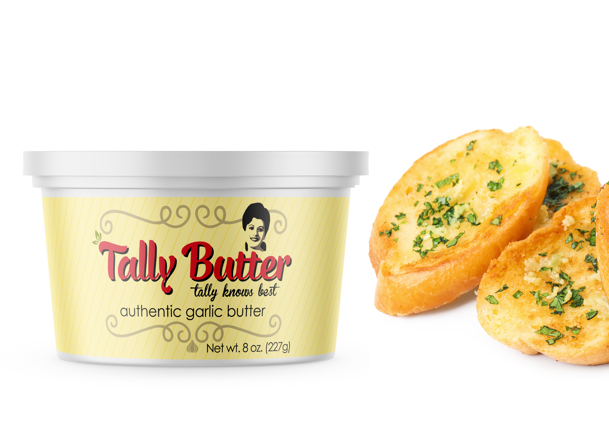 Tally Butter vintage-inspired packaging with logo over soft yellow canister and swirls and garlic clove design elements next to garlic bread.