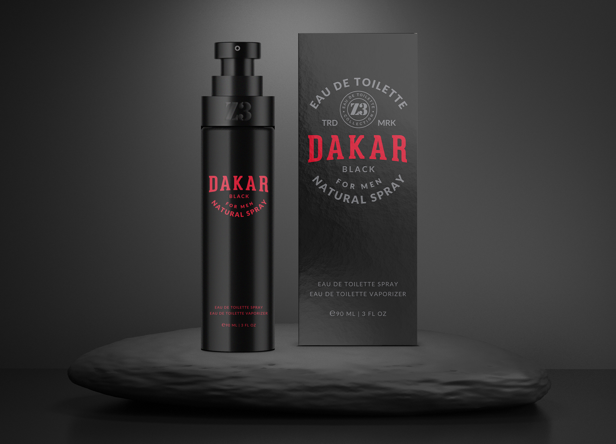 YZY Perfume men's fragrance bottle and package design in classic black, red, and white for Z3 Dakar product.