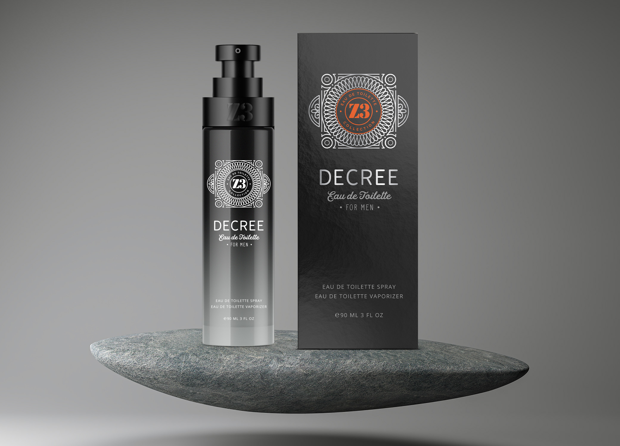 YZY Perfume men's fragrance bottle and package design in black, red, grey, and white for Z3 Decree product.