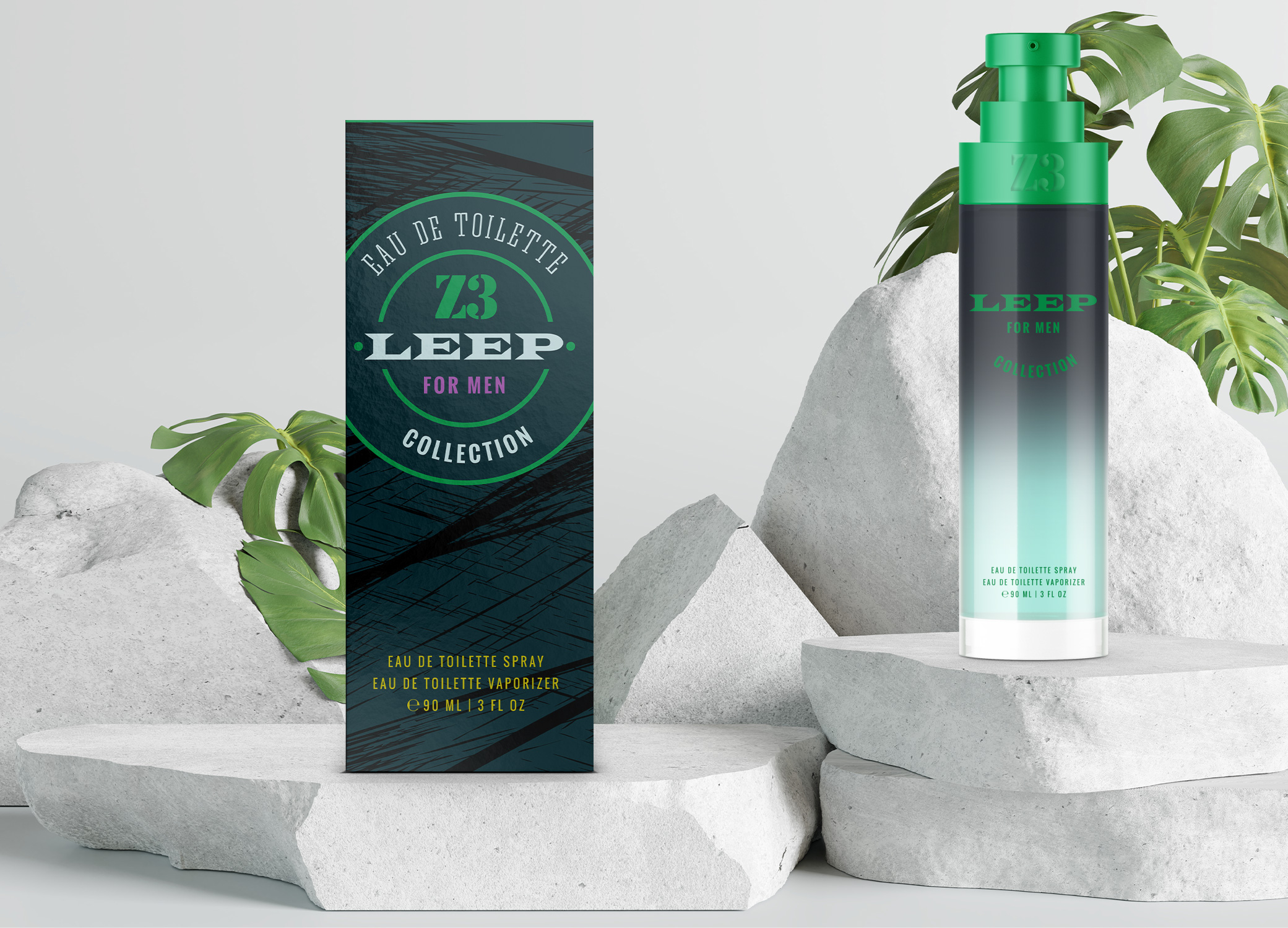 YZY Perfume men's fragrance bottle and package design in jungle green with tiger scratch pattern for Z3 Leep product.