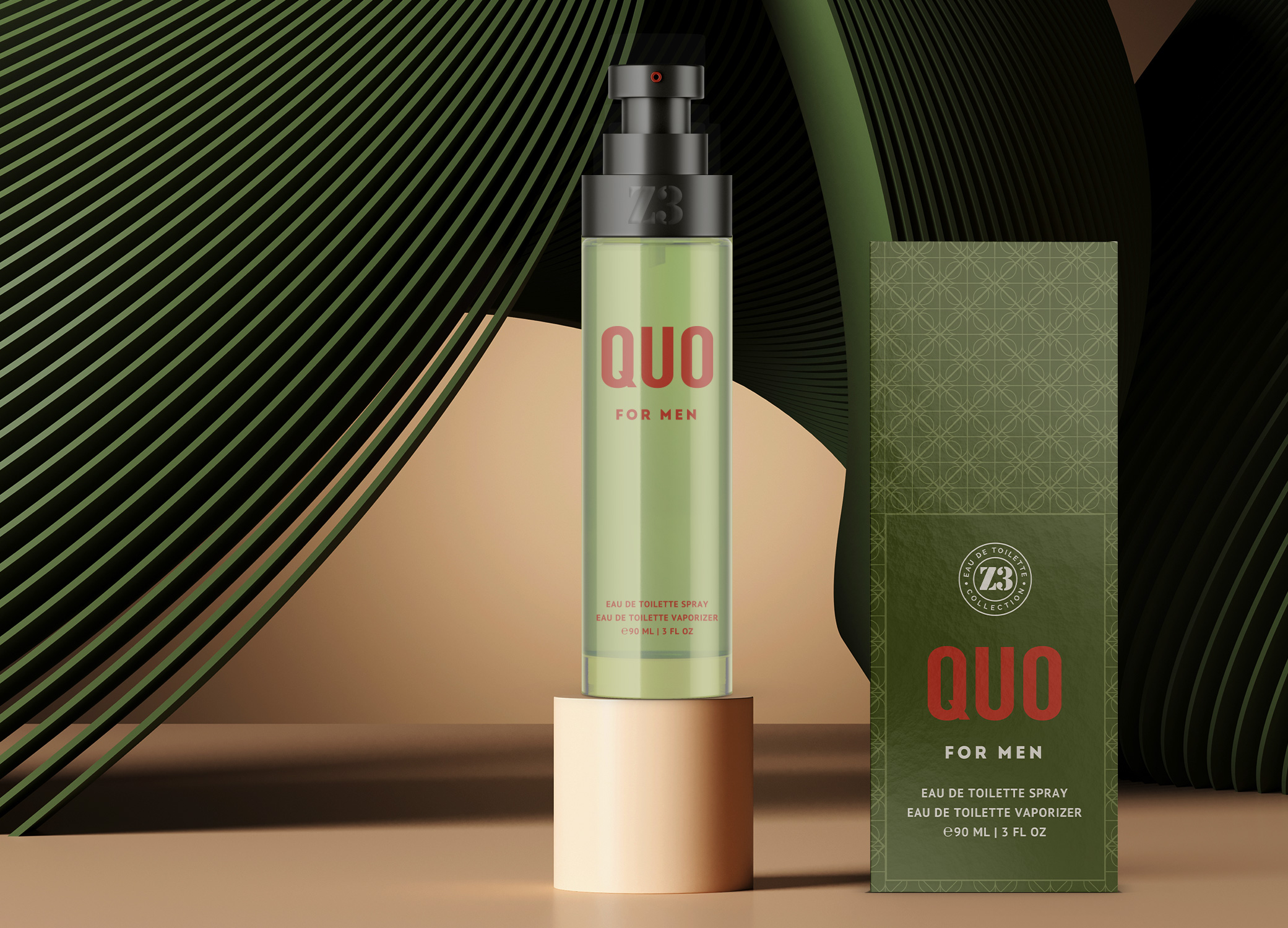 YZY Perfume men's fragrance bottle and package design in olive and rust with ornate pattern for Z3 Quo product.