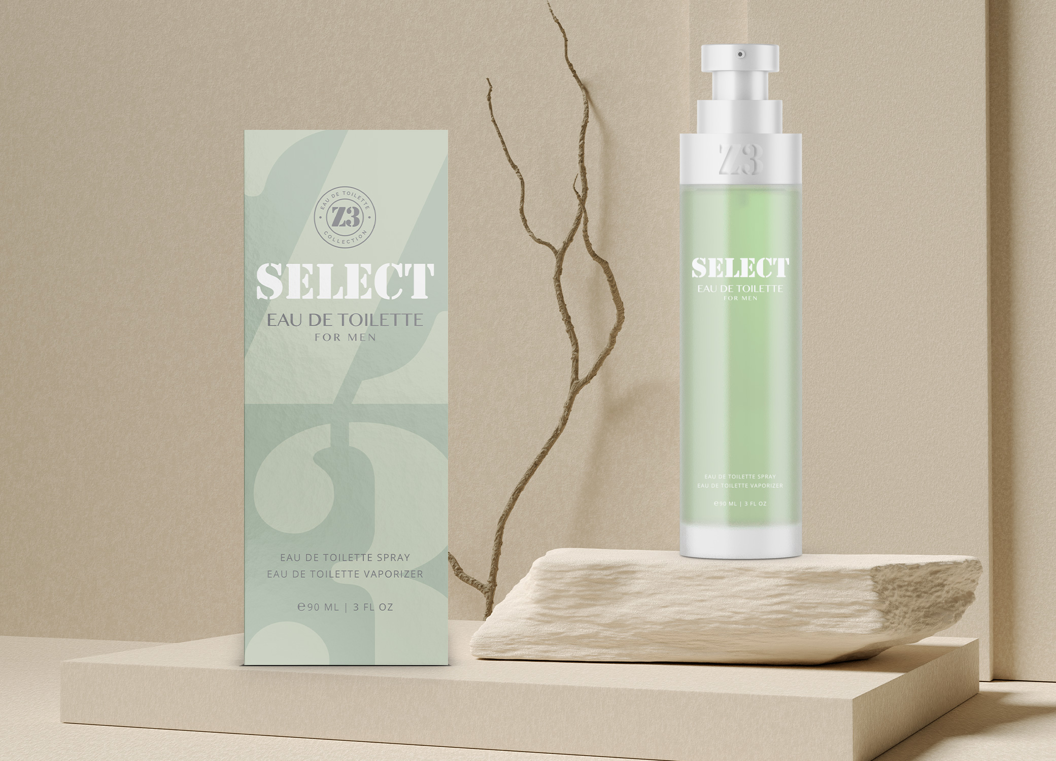 YZY Perfume men's fragrance bottle and package design in cool grey and green with stenciling for Z3 Select product.