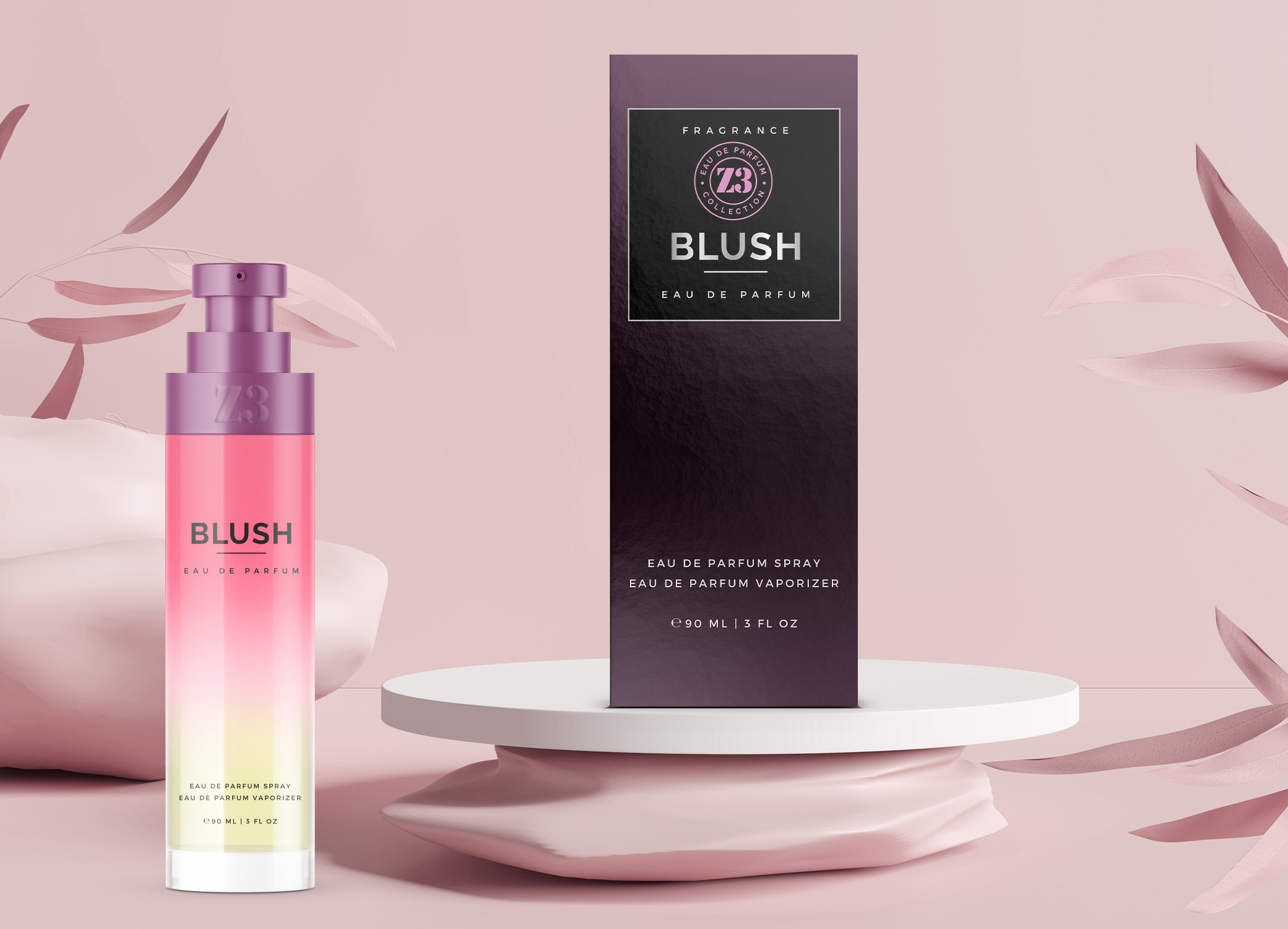 YZY Perfume women's fragrance bottle and package design in pink and purple ombre for Z3 Blush product.