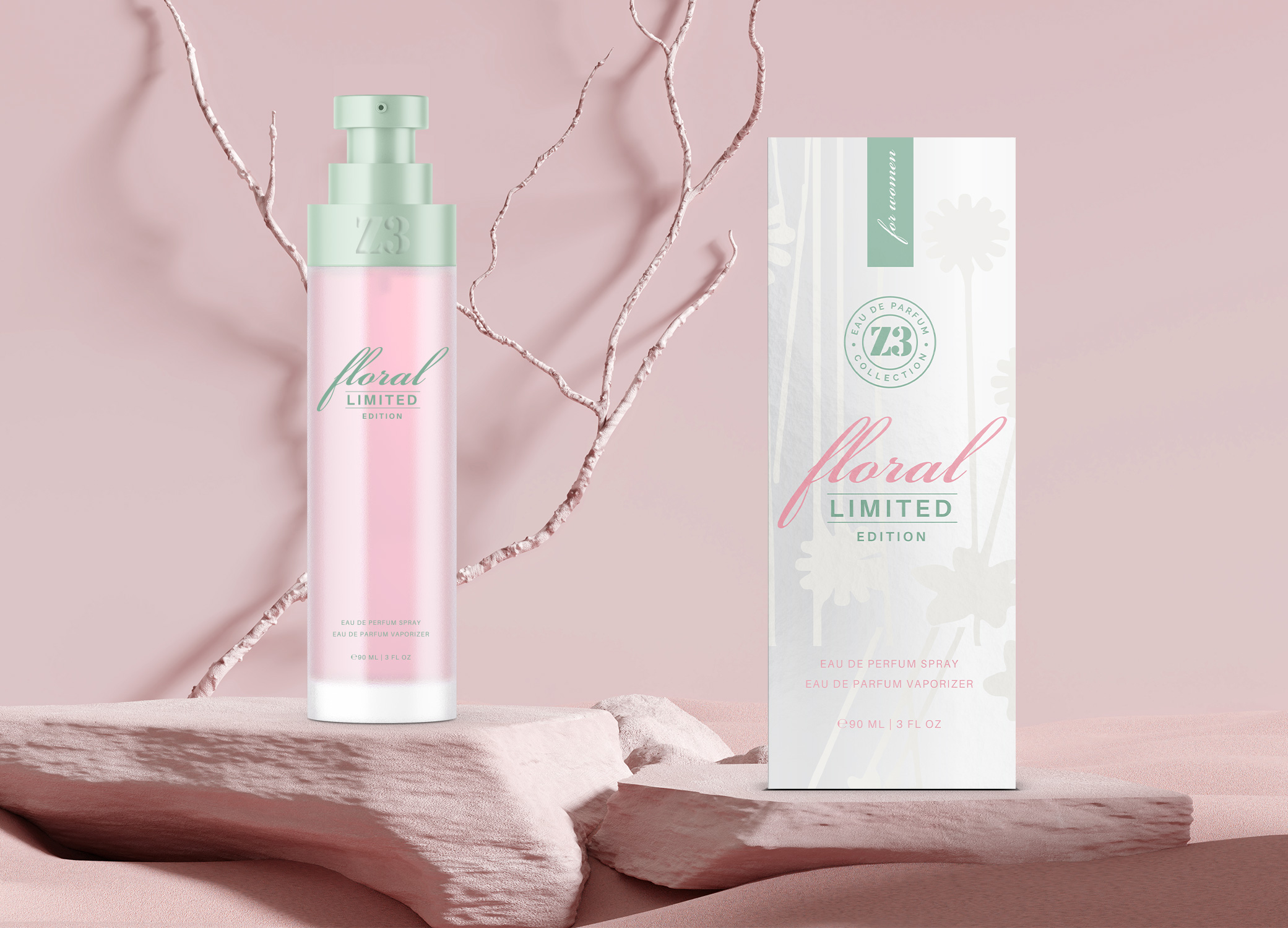 YZY Perfume women's fragrance bottle and package design in pink, green, white, and silver with flower elements for Z3 Floral product.