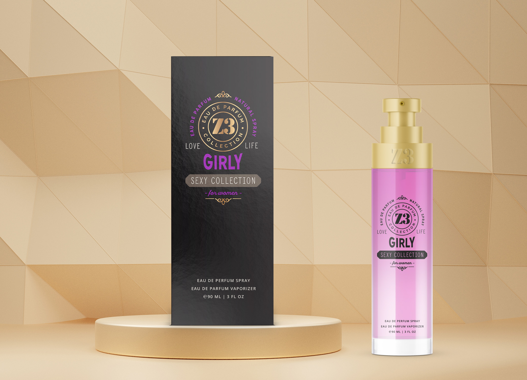 YZY Perfume women's fragrance bottle and package design in black, purple, and gold for Z3 Girly product.