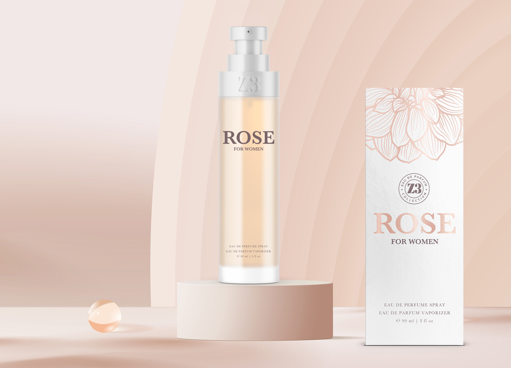 YZY Perfume women's fragrance bottle and package design in pale pink and silver with rose element for Z3 Rose product.