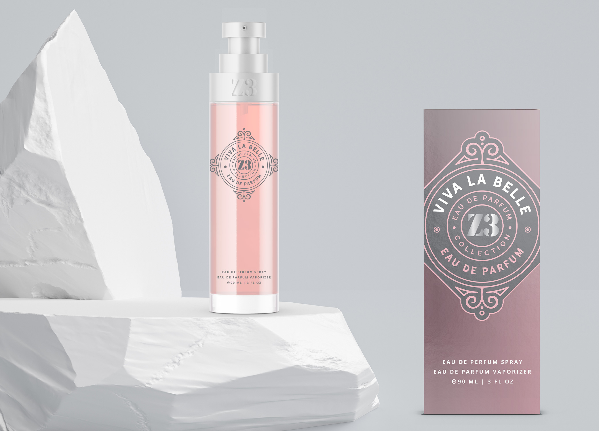 YZY Perfume women's fragrance bottle and package design in pink and charcoal with vintage emblem for Z3 Viva la Belle product.