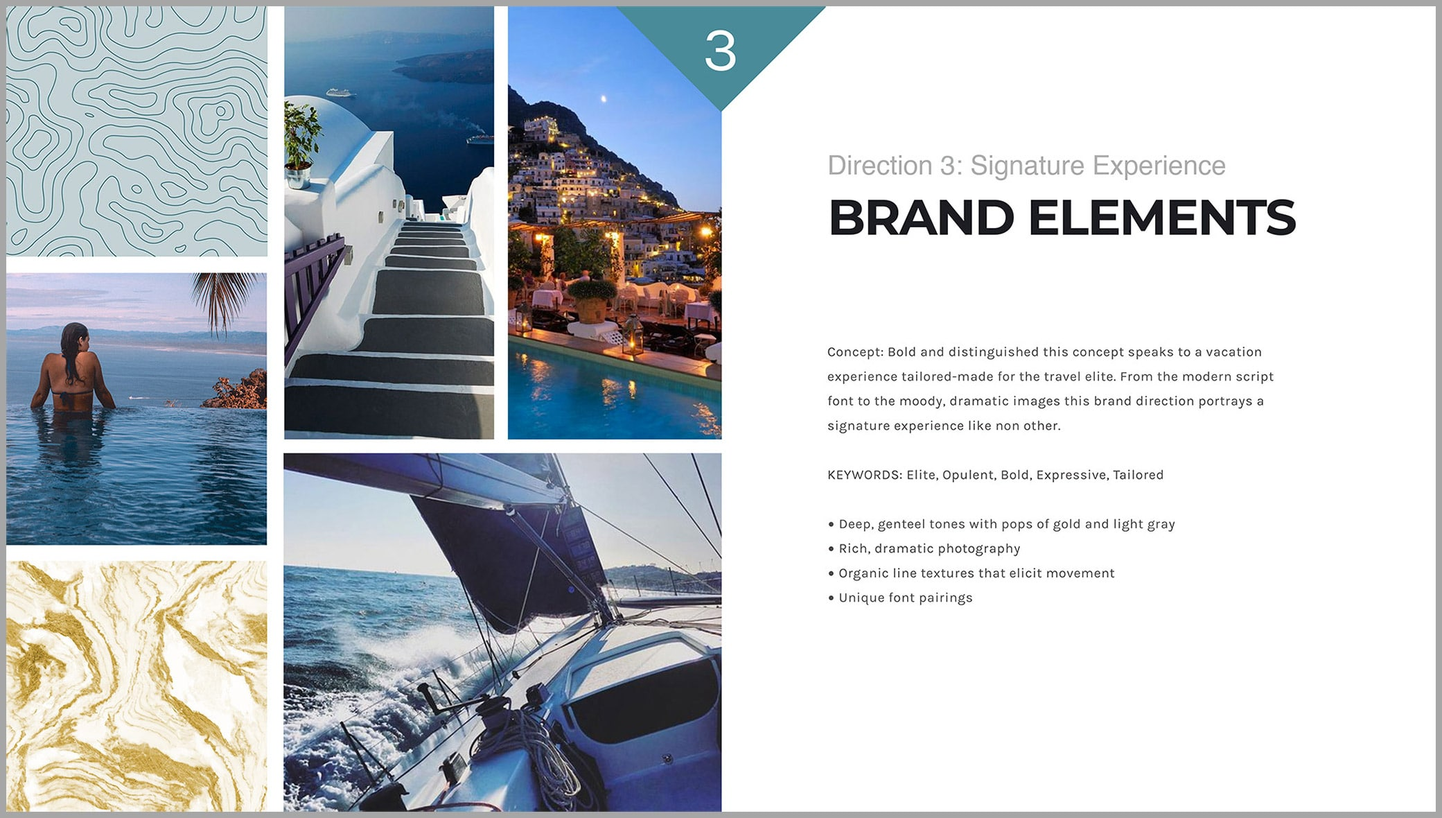 Zig Travel brand elements direction showcasing concepts, keywords and color inspiration.